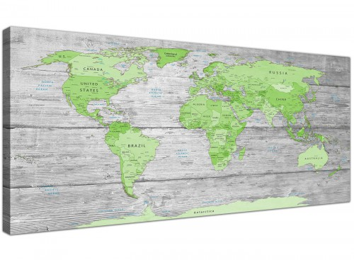 Green Grey World Map Atlas Canvas Wall Art Print