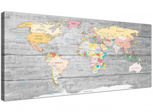 Oversized Grey Large Map Of World Canvas Art Print Colourful Light Grey Maps Canvas Modern 120cm Wide 1306 For Your Study
