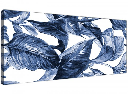 Oversized Indigo Navy Blue White Tropical Leaves Canvas Modern 120cm Wide 1320 For Your Dining Room