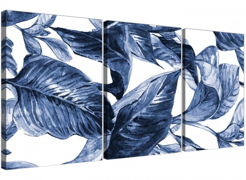 Oversized Indigo Navy Blue White Tropical Leaves Canvas Multi Triptych 3320 For Your Dining Room