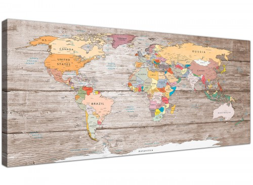 Oversized Large Decorative Map Of The World Atlas Canvas Modern 120cm Wide 1326 For Your Kitchen