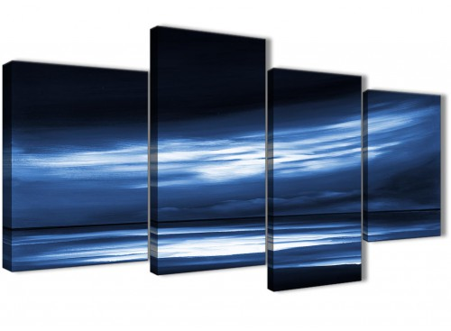 Oversized Large Indigo Blue White Abstract Sunset Modern Canvas Wall Art Multi 4 Set 130cm Wide 4332 For Your Dining Room