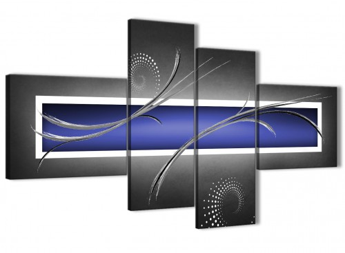 Oversized Large Indigo Navy Blue Grey White Abstract Canvas Wall Art Split 4 Set 160cm Wide 4348 For Your Dining Room