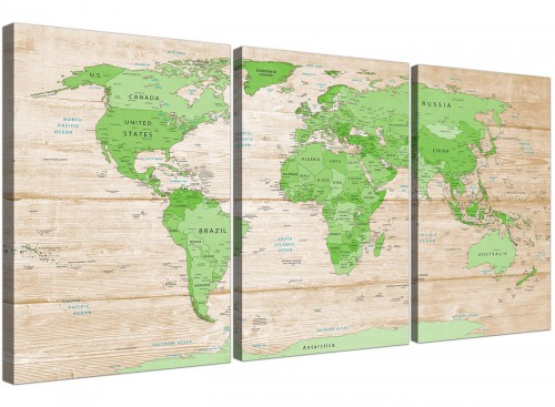 Oversized Large Lime Green Cream World Map Atlas Canvas Split Set Of 3 3310 For Your Living Room