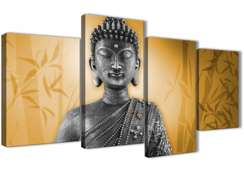 Oversized Large Orange And Grey Silver Wall Art Prints Of Buddha Canvas Split 4 Piece 4329 For Your Living Room