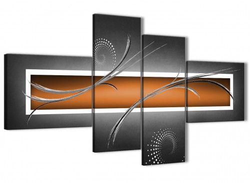 Oversized Large Orange Grey White Abstract Canvas Wall Art Split 4 Part 160cm Wide 4347 For Your Kitchen