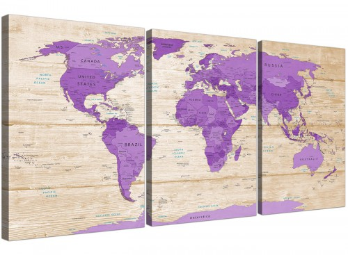 Oversized Large Purple Cream Map Of The World Atlas Canvas Split 3 Part 3312 For Your Bedroom