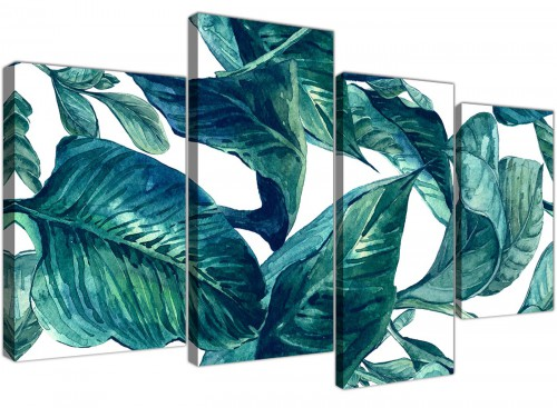 Oversized Large Teal Blue Green Tropical Exotic Leaves Canvas Multi 4 Piece 4325 For Your Bedroom