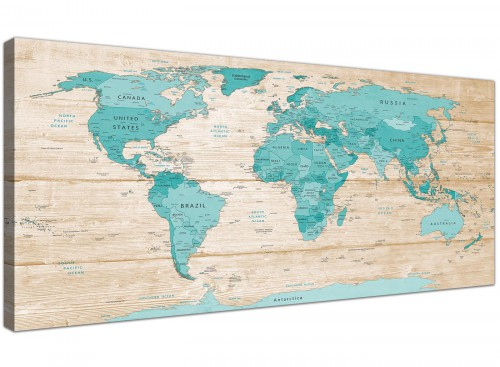 Oversized Large Teal Cream Map Of World Atlas Canvas Modern 120cm Wide 1313 For Your Dining Room