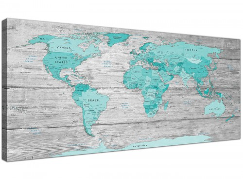 Teal Grey Map of World Atlas Canvas Wall Art