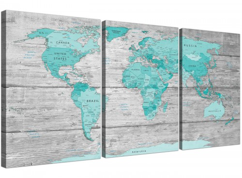 Oversized Large Teal Grey Map Of World Atlas Maps Canvas Split 3 Part 3299 For Your Living Room
