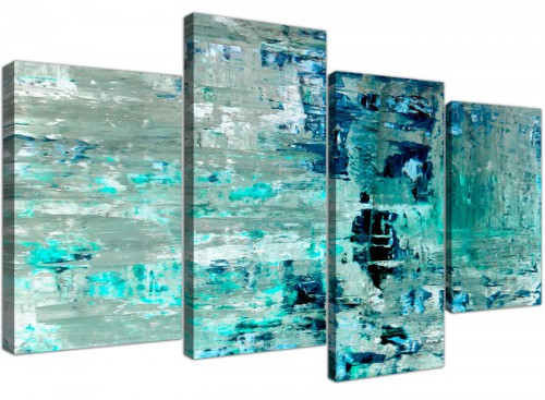 Oversized Large Turquoise Teal Abstract Painting Wall Art Print Canvas Split 4 Set 4333 For Your Living Room