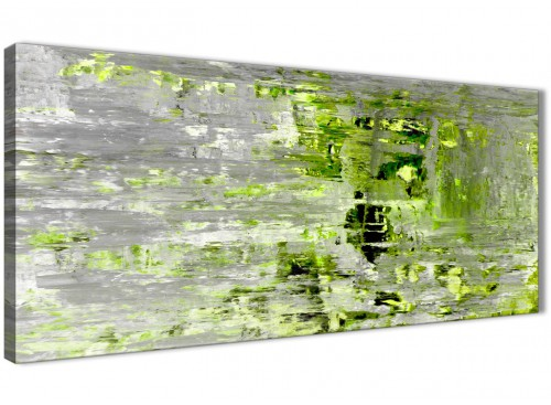 Oversized Lime Green Grey Abstract Painting Wall Art Print Canvas Modern 120cm Wide 1360 For Your Dining Room