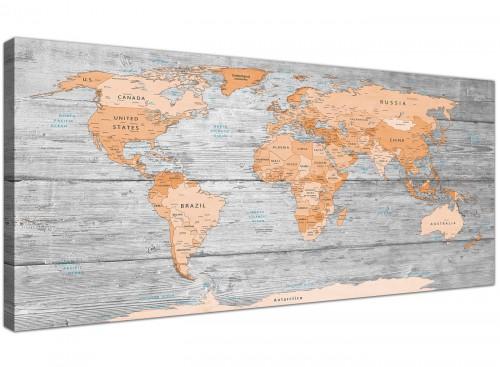 Oversized Orange Cream Large Orange Grey Map Of World Atlas Canvas Wall Art Print Maps Canvas Modern 120cm Wide 1304 For Your Boys Bedroom