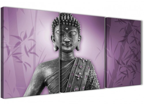 Oversized Purple And Grey Silver Wall Art Prints Of Buddha Canvas Multi 3 Part 3330 For Your Living Room