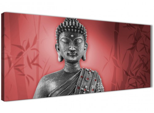 Oversized Red And Grey Silver Wall Art Prints Of Buddha Canvas Modern 120cm Wide 1331 For Your Dining Room