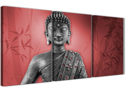 Oversized Red And Grey Silver Wall Art Prints Of Buddha Canvas Split 3 Part 3331 For Your Living Room