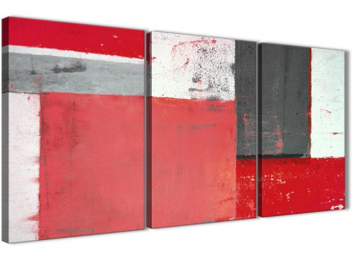 Oversized Red Grey Abstract Painting Canvas Wall Art Multi 3 Panel 125cm Wide 3343 For Your Bedroom