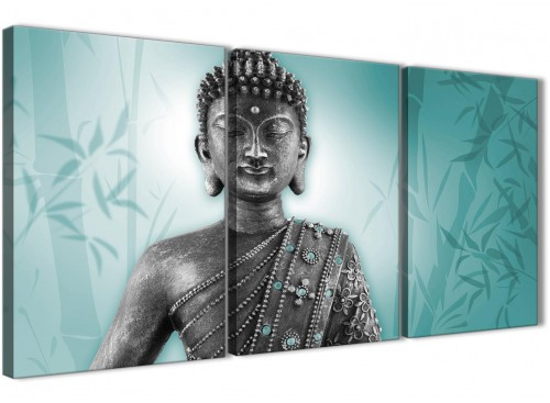 Oversized Teal And Grey Silver Wall Art Prints Of Buddha Canvas Multi 3 Panel 3327 For Your Dining Room