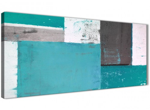 Oversized Teal Grey Abstract Painting Canvas Wall Art Modern 120cm Wide 1344 For Your Bedroom