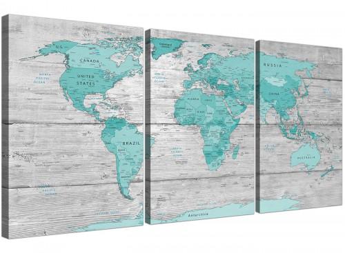 Oversized Teal Grey Large Teal Grey Map Of World Atlas Maps Canvas Multi 3 Set 3299 For Your Living Room