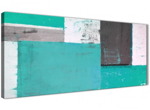 Oversized Turquoise Grey Abstract Painting Canvas Wall Art Modern 120cm Wide 1345 For Your Hallway