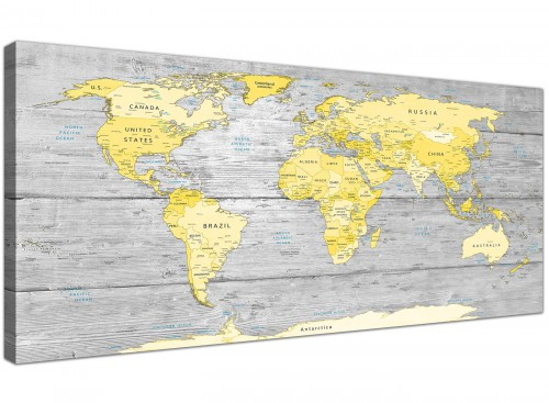 Yellow Grey Map of World Atlas Canvas Wall Art Print on