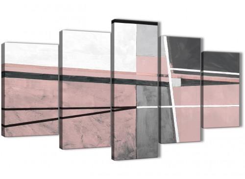 Oversized 5 Piece Blush Pink Grey Painting Abstract Dining Room Canvas Pictures Decorations - 5393 - 160cm XL Set Artwork
