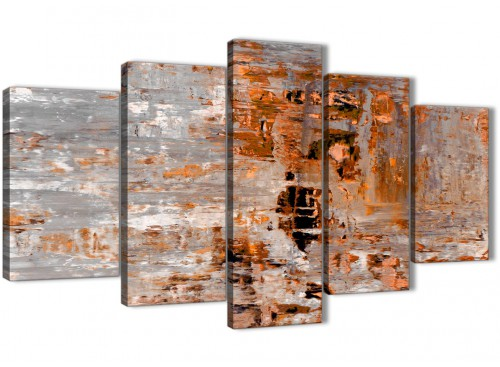 Burnt Orange Wall Paint Dining Room Contemporary With Aqua: 5 Piece Burnt Orange Grey Painting Abstract Bedroom Canvas
