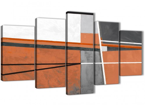 Oversized 5 Part Burnt Orange Grey Painting Abstract Bedroom Canvas Pictures Decorations - 5390 - 160cm XL Set Artwork