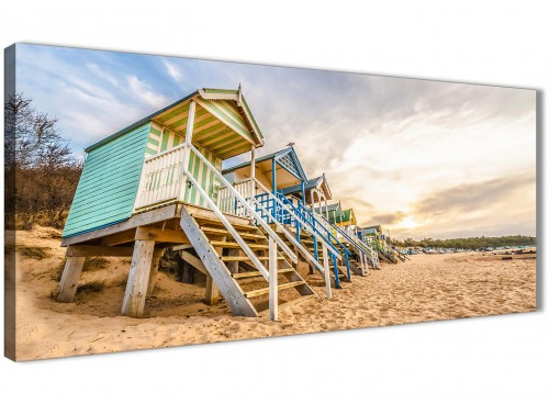 Panoramic Beach Huts Scene - Canvas Art Pictures - Landscape - 1200 - 120cm Wide Print