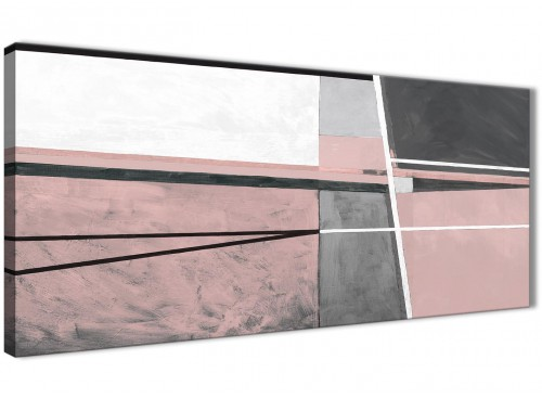 Panoramic Blush Pink Grey Painting Bedroom Canvas Pictures Accessories - Abstract 1393 - 120cm Print