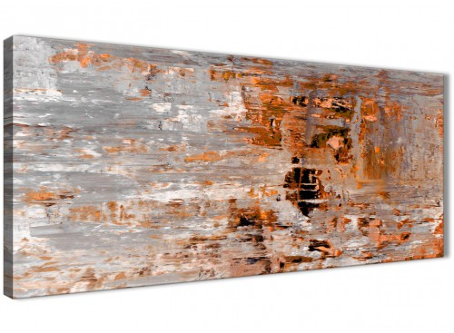 Burnt Orange Grey Painting Canvas Wall Art