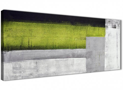 Panoramic Lime Green Grey Painting Bedroom Canvas Wall Art Accessories - Abstract 1424 - 120cm Print
