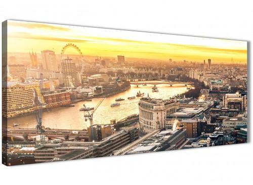 London Eye Skyline Sunset Canvas Wall Art - Landscape - 1459 - 120cm Wide Print