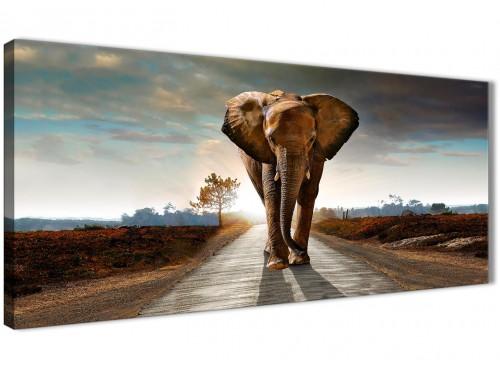 Panoramic Modern Elephant Landscape - Canvas Wall Art - 1209 - 120cm Wide Print