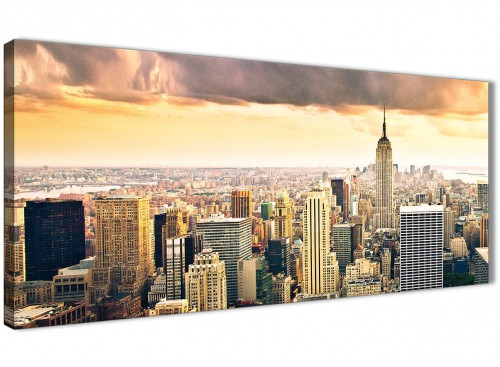 Panoramic New York Manhattan Skyline - Canvas Wall Art - Landscape - 1201 - 120cm Wide Print