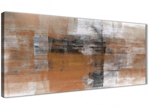 Panoramic Orange Black White Painting Living Room Canvas Wall Art Accessories - Abstract 1398 - 120cm Print