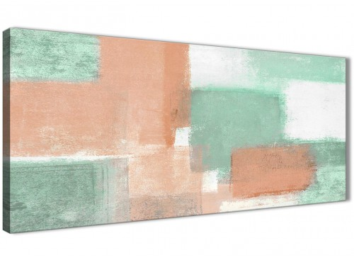 Panoramic Peach Mint Green Bedroom Canvas Wall Art Accessories - Abstract 1375 - 120cm Print