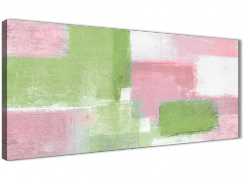 Panoramic Pink Lime Green Green Living Room Canvas Wall Art Accessories - Abstract 1374 - 120cm Print