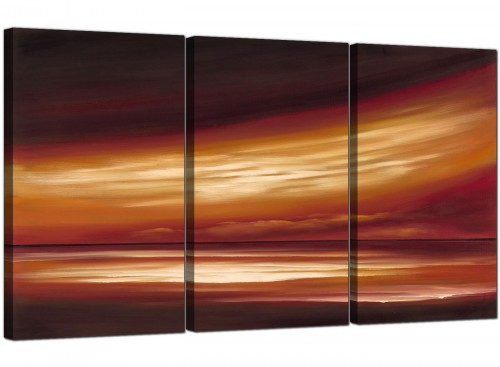 Brown Cream Abstract Sunset Landscape Canvas