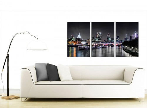 3 Part British City Canvas Art 125cm x 60cm 3211