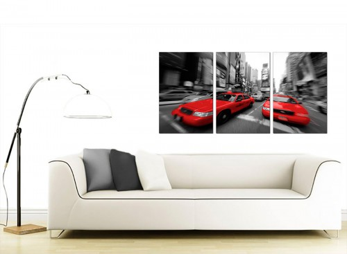 Three Panel City Canvas Prints 125cm x 60cm 3025