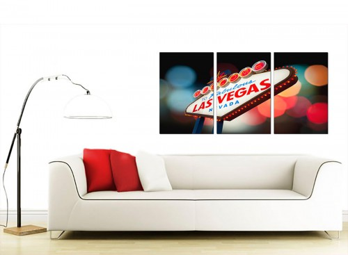 3 Panel City American Canvas Pictures 125cm x 60cm 3126