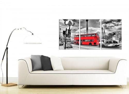 3 Panel British Cityscape Canvas Wall Art 125cm x 60cm 3210