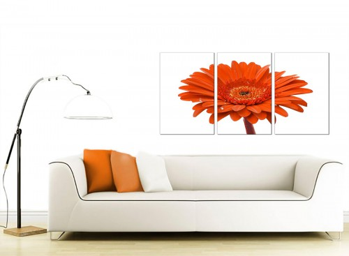 Set of 3 Floral Canvas Prints 125cm x 60cm 3140