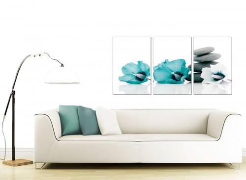 Set of 3 Floral Canvas Pictures 125cm x 60cm 3072
