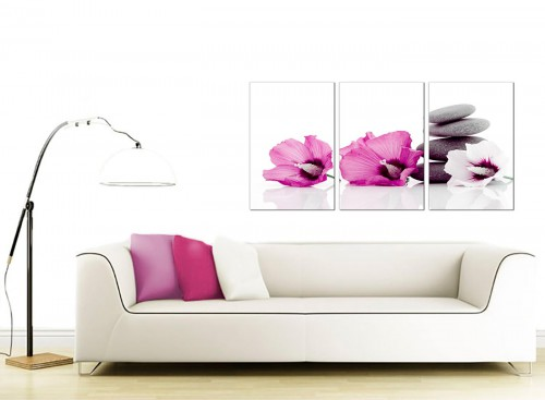 Set of 3 Floral Canvas Prints UK 125cm x 60cm 3069