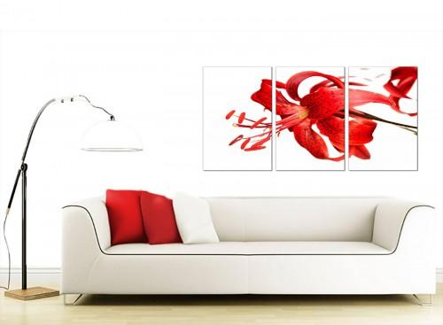 Set of 3 Floral Canvas Wall Art 125cm x 60cm 3052