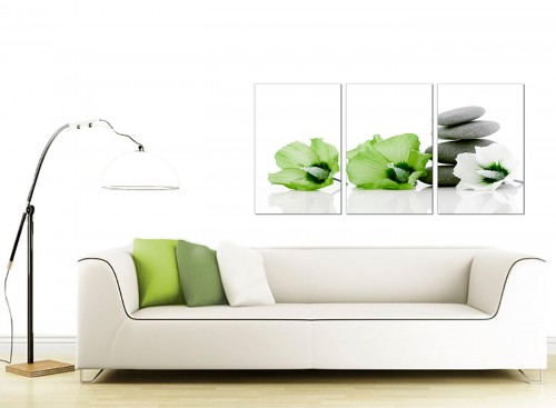 3 Panel Floral Canvas Wall Art 125cm x 60cm 3070